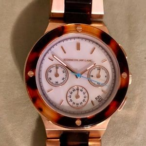 Kenneth Jay Lane Rose Gold & Tortoise Shell Watch